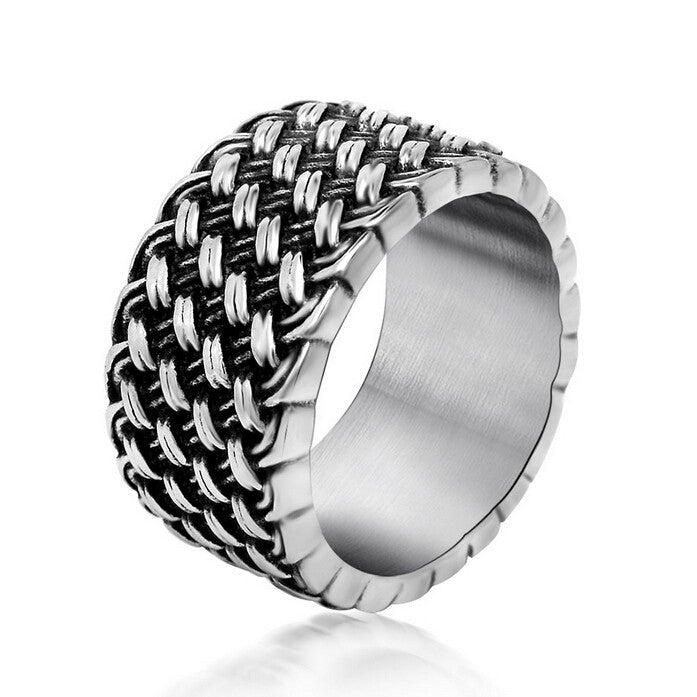 Retro Cool Weaved Rings For Men Famous Brand Wedding Jewelry Fashion Stainless Steel Mens Rings Man Ring Anel