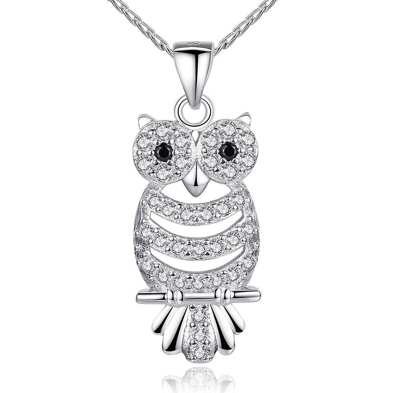 Retro Owl Pendant Necklace with AAA Austrian Zircon 18K White Gold Plated Women Clothing Accessories