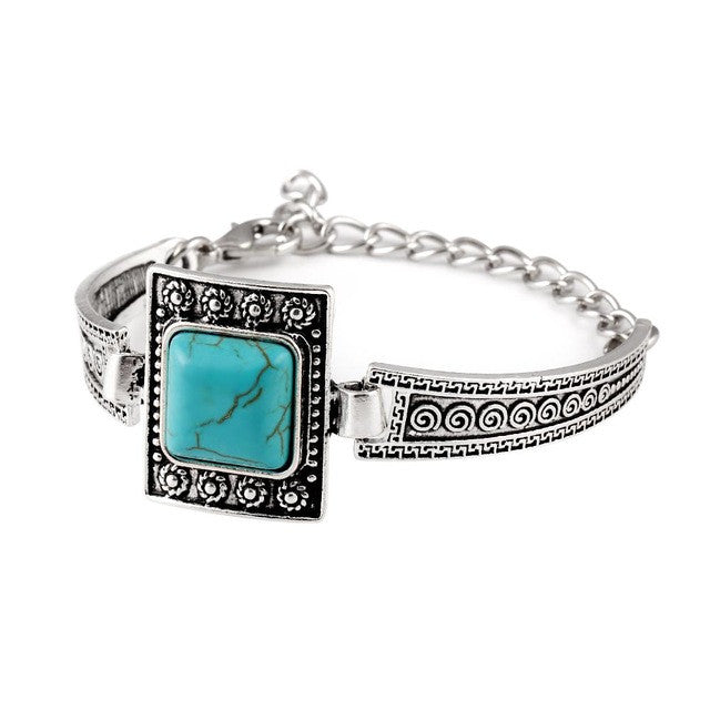 Retro Square Turquoise Cuff Bracelets Vintage Geometric Carved Tibetan Silver Bracelet Alloy pulsera brazalete Accessory