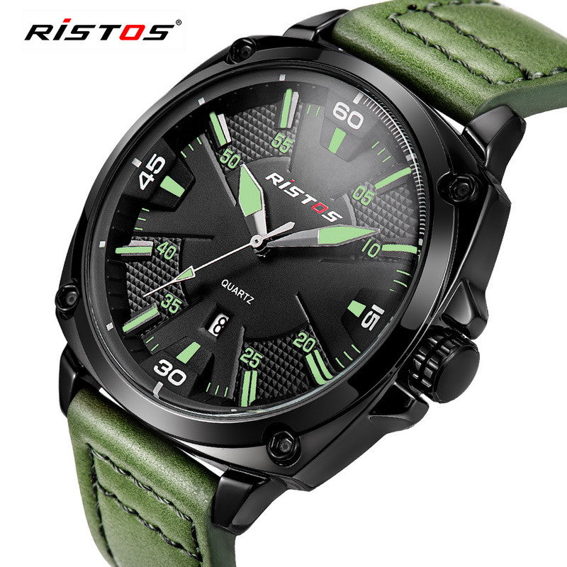 Ristos New Luxury Brand Fashion Sport Quartz Watch Men Business Watch Russia Army Military Corium Leather Strap Wristwatch