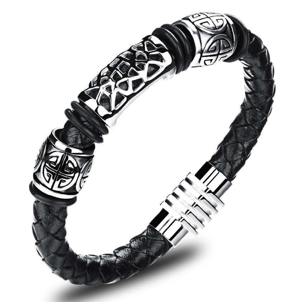 Rock Leather Weaved Man Bracelets Fashion New Magnet Clasp Good Steel Wristband Braided Wrap Bracelet & Bangles Gifts