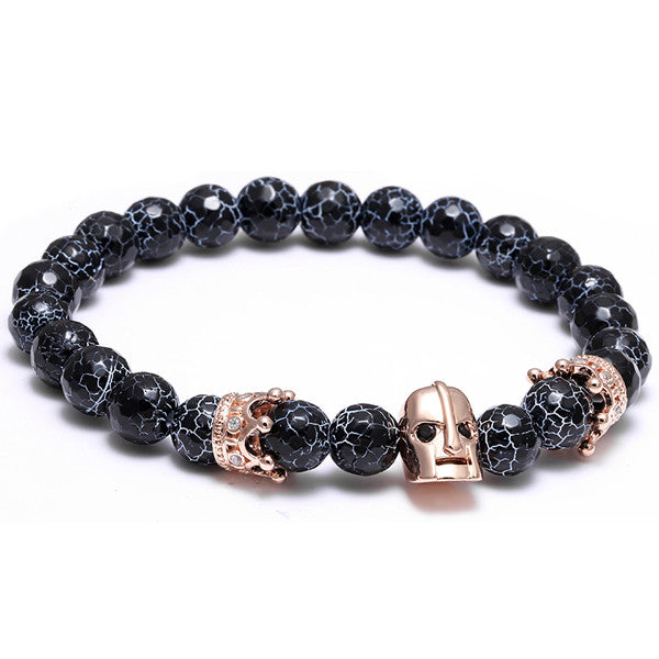 Roman Knight Spartan Warrior Gladiator Helmet Bracelet Men Natural Agate Weathered rocks Stone Bead Bracelet With Crown CZ Charm
