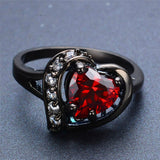 Romantic Big Heart Ring Crystal Black Gold Filled Cubic Zircon Red Stone Ring Wedding Engagement Jewelry