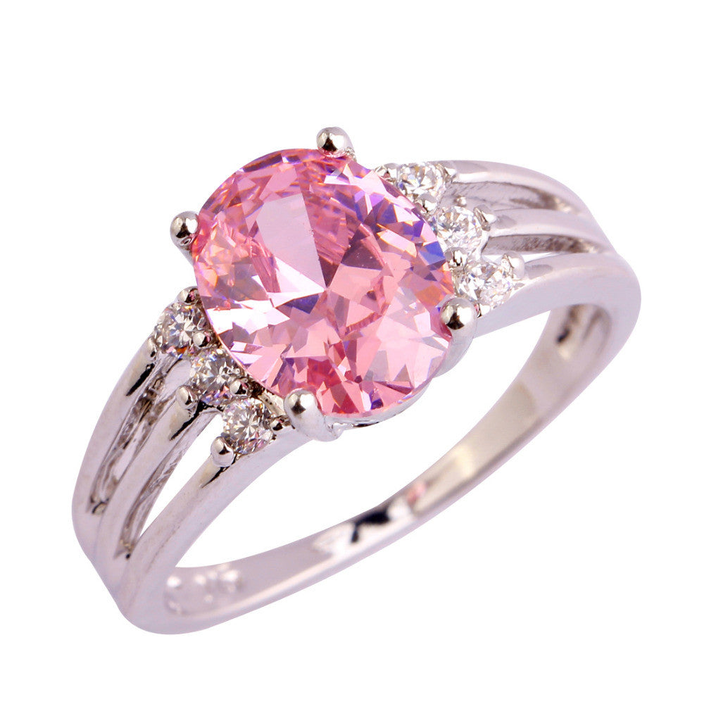 Romantic Love Style Jewelry Pink & White Sapphire AAA Silver Ring