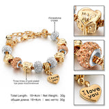 Rose Gold Love Charm Bracelets & Bangles For Women Crystal Beads Friendship Bracelet Femme Famous Brand Turkish Jewelry
