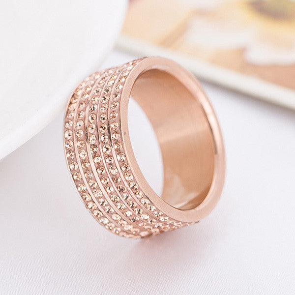 Rose Gold Plated Stainless Steel Jewelry Crystal Wedding Rings for women