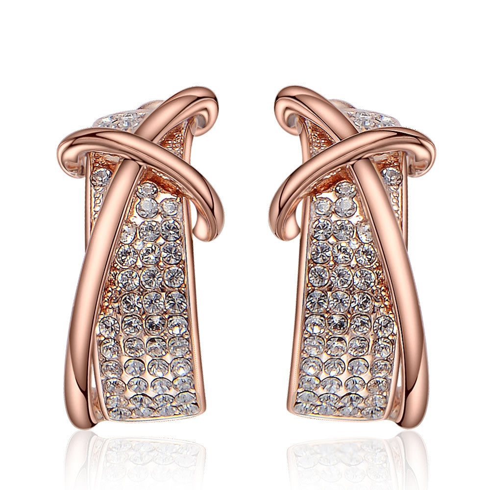 Rose Gold/Gun Plated Cross Rhinestone Crystal Hoop Earrings Women Gift New for Newest Woman Earrings Fashion