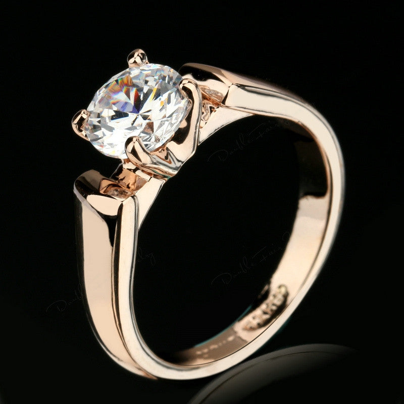 Double Fair Round Cut Cubic Zircon Engagement Rings Silver/Rose Gold Plated CZ Stone Wedding Jewelry For Man & Women Anel