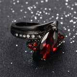 Ruby Jewelry Black Gold Filled Horse Eye Style CZ Wedding Engagement Ring For Women Gifts Fashion Jewelry