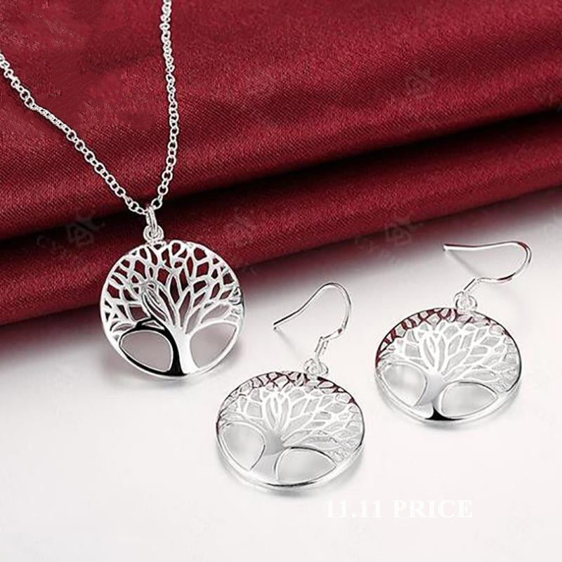 Best Silver Tree Of Life jewelry set necklace earring 18inch totem gift wife girl friend women wedding Valentines