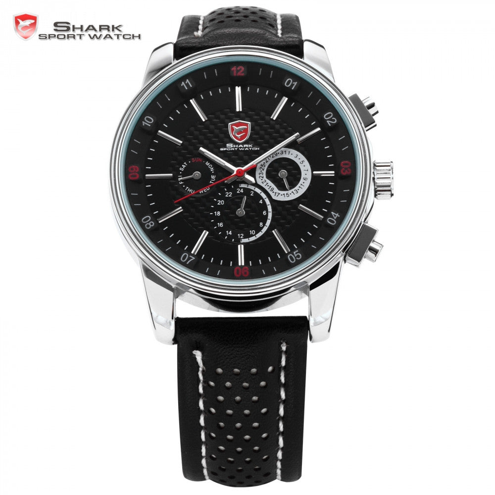 SHARK Sport Watch 6 Hands Clock Calendar Stainless Steel Case Black Leather Strap Relojes Men Quartz Wrist Tag Timepiece