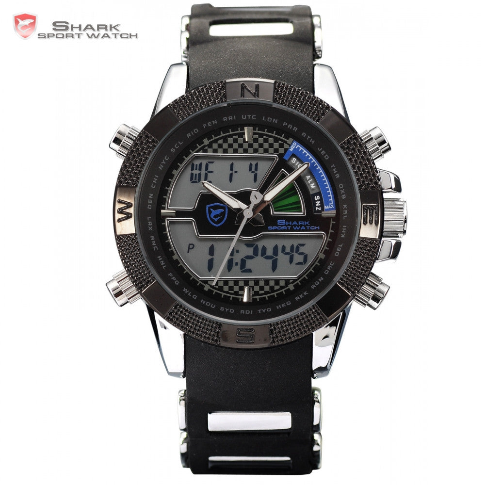 SHARK Sport Watch Relogio LCD Auto Date Alarm Silicone Strap Chronograph Dual Time Men Quartz Outdoor Digital Wristwatch