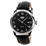 SKMEI Genuine Leather Strap Men Wristwatch With Analog Display Date 30M Daily Waterproof 3Colors Casual Watch