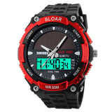 SKMEI Solar Wristwatch Power Sport Watches Men Luxury Brand 50M Waterproof Outdoor LCD Digital Watch Military Watch