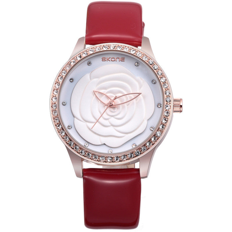 SKONE Fashion Women Watch Luxury Brand Watch Camellia Style Dial Leather Band Women Dress Watch
