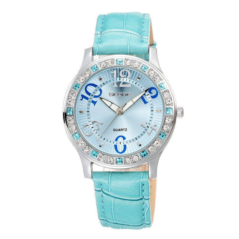 SKONE relogios femininos Fashion Rhinestone Women Wristwatch Leather strap Analog Display Quartz Watch Women Casual Watch