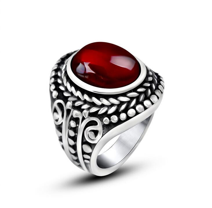 Vintage 316L Stainless Steel Ring Cool Inlay Ruby Rings For Men Fashion Jewelry Black Red Stone Mens Ring