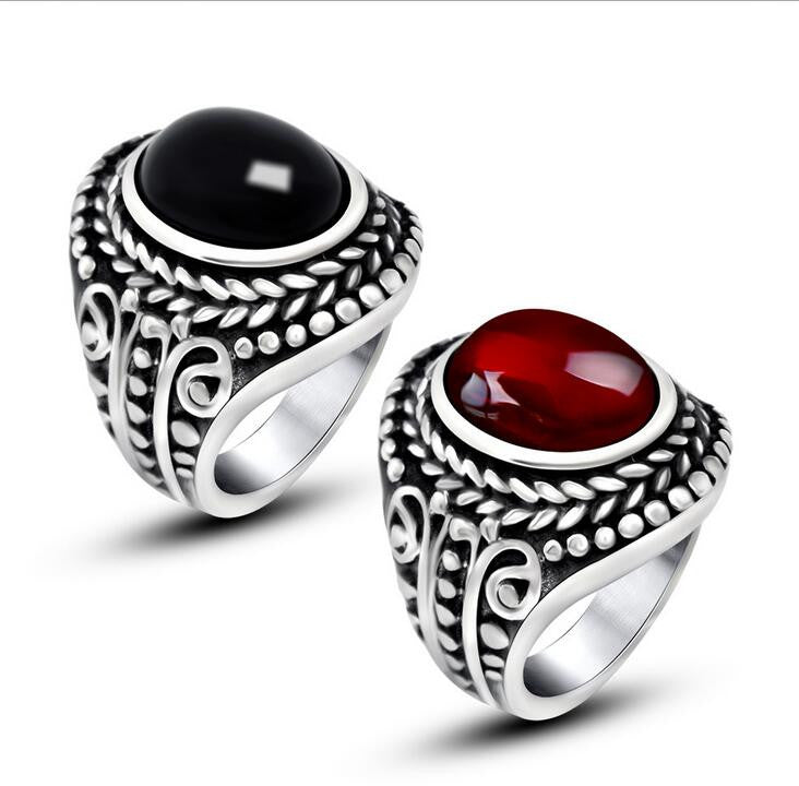 Relatively Vintage 316L Stainless Steel Ring Cool Inlay Ruby Rings For Men  GS03