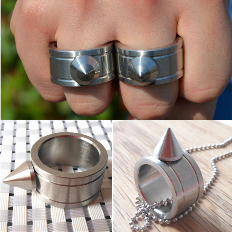 Self-defense Ring Shocker Product Survival Ring Tool Pocket Women Self Defense Ring Stainless Steel Spike + Chaining
