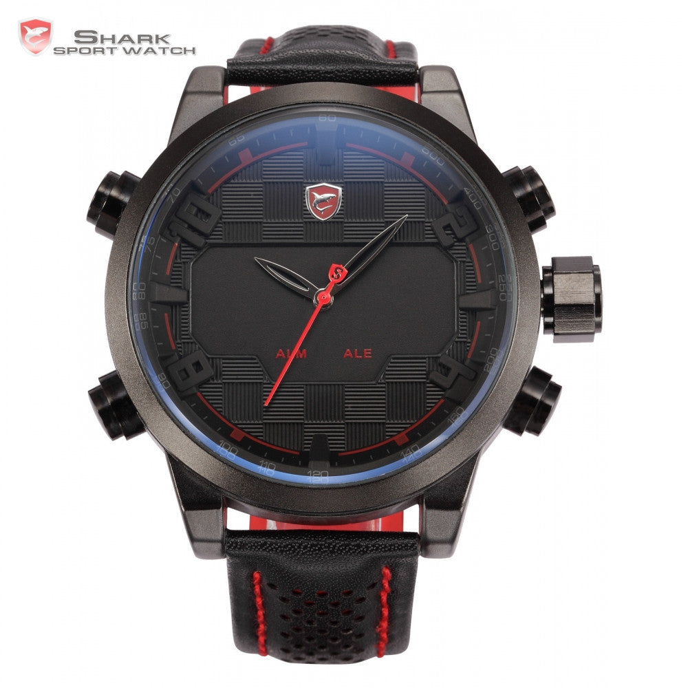 Shark Sport Watch LED Black Red Stainless Steel Case Analog Digital Dual Movement Tag Timezone Leather Strap Men Clock