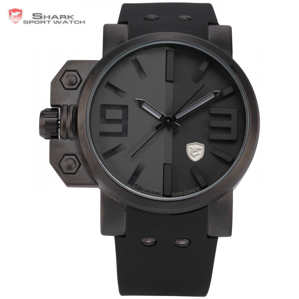 Shark Sport Watch Stainless Steel Case Full Black Dial Big Face Cool Men Silicone Strap Men Outdoor Military Wristwatch