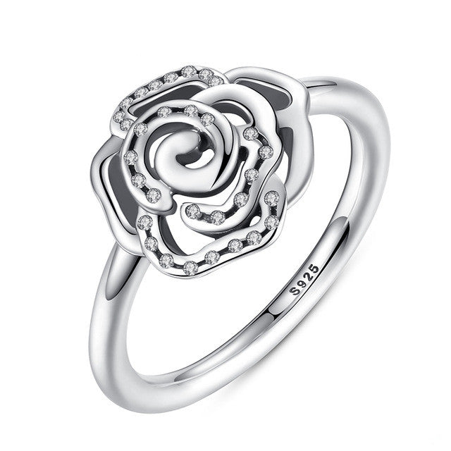 Shimmering Delicate Rose Flower Ring with Clear CZ Ring Original 100% 925 Sterling Silver Jewelry