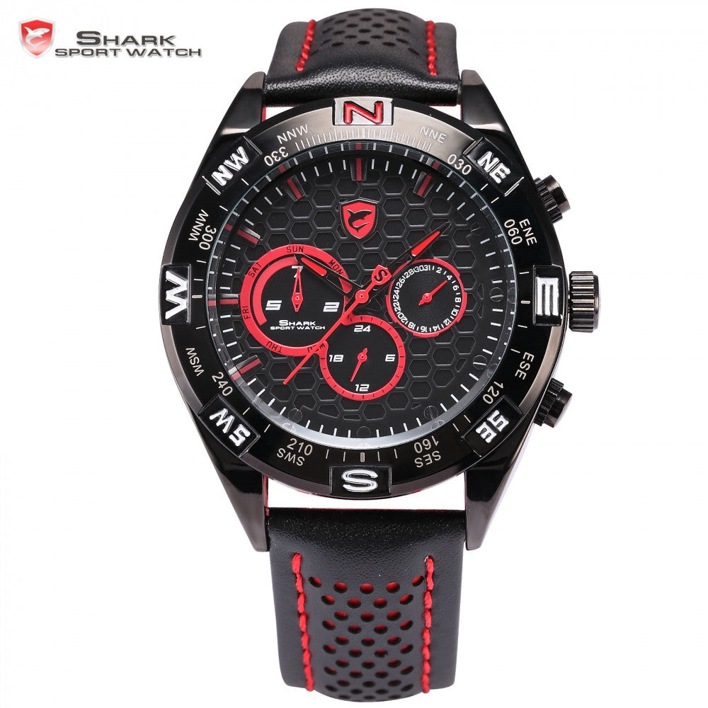 Shortfin Shark Sport Watch 2nd Generation Speedy Leather Band Red Black Dial Dual Time Zone Date 24Hr Mens Quartz Watches