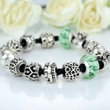 Silver Charm Bracelet & Bangle for Women With High Quality Green Murano Glass Beads DIY Birthday Gift