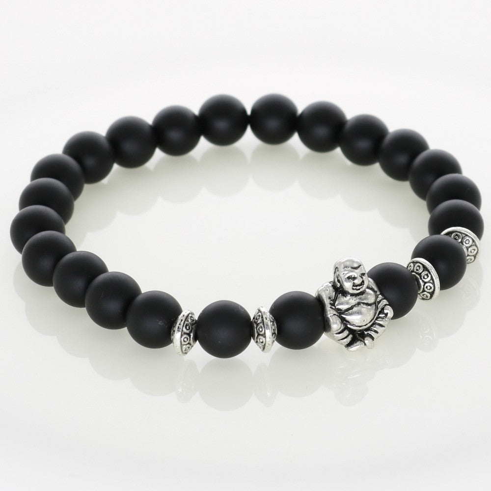 Silver Laughing Buddha Lucky Charm Bracelets Onyx Agate Stone Matt Beads For Men Bracelets Jewelry Women Fashion Accessories