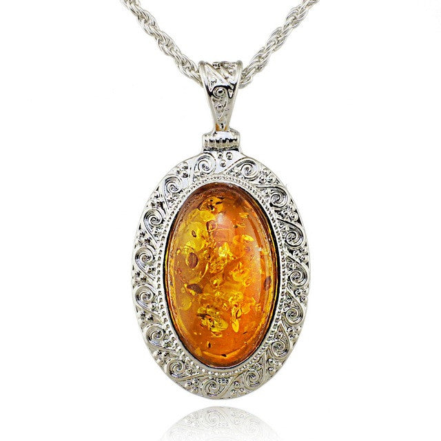 Silver Oval Baltic Faux Amber Honey Carved Exquisite Tibet Silver Pendant Necklace Fashion Jewelry