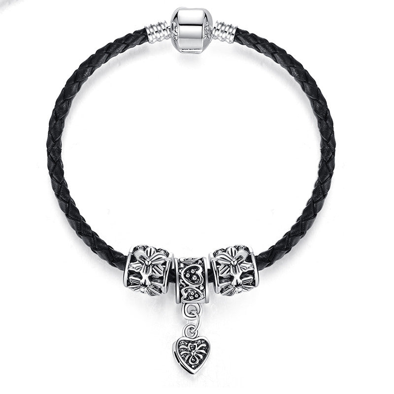 Silver Plated Leather Bracelet For Women Men Charm Fit Original Bracelets & Bangles DIY Jewelry
