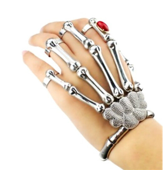 New Silver and Gold Punk Goth Skeleton Slave Bones Talon Hand Skull Bracelet GAGA Style Chain