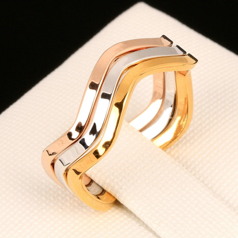 Simple Style 3 Color Rounds Wave Rings Rose Gold Plated Fashion Brand Rock Jewellery/Jewelry For Women