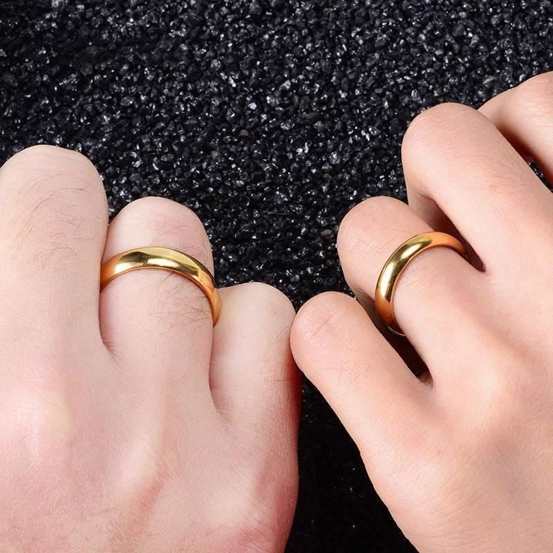 7864be76364 Simple Engagement Wedding Couple Rings Lovers Set 18K Gold Plated Rings for Men  Women His and Her Promise Anniversary Jewelry