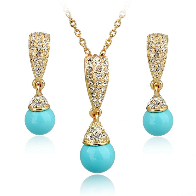 Simulated Pearl Jewelry Set For Women Gold Plated Jewellery Set Fashion Bridal Necklace Earrings Set Wedding