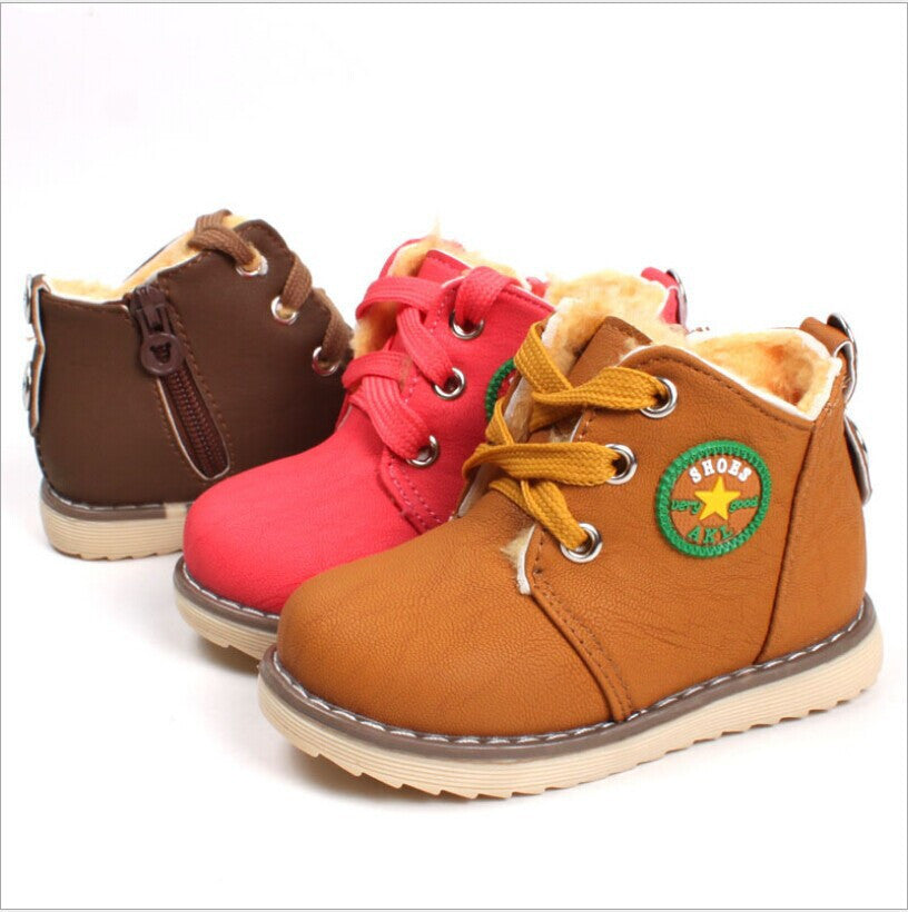 Size 21-30 New 2015 Winter Warm Kids Boots Fashion Plus Velvet Boys Girls Shoes Children Snow Boots