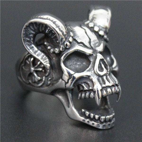 Evil Damn Skull Vampire Goat Ring 316L Stainless Steel Man Boy Band Party Bull Skull Ring