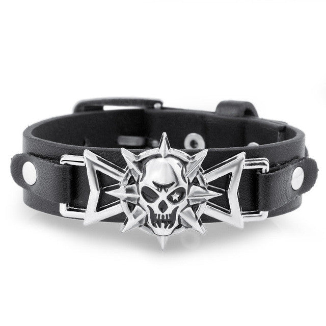 Skeleton Skull Star Eye Punk Gothic Rock Leather Belt Buckle Bracelets For Women Men Bracelets & Bangles