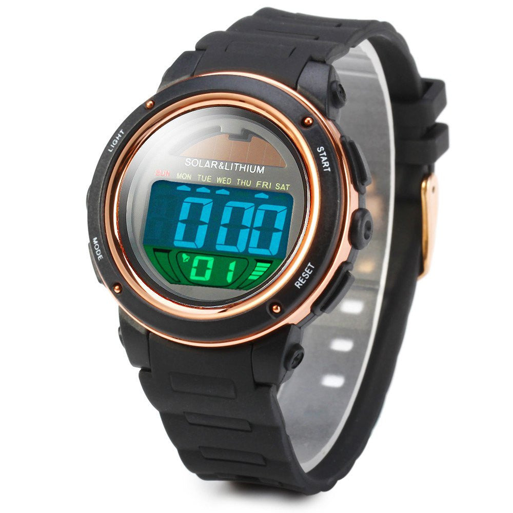 Skmei Solar Digital Men Watches1096 5ATM Waterproof Quartz Power LED Sports women Outdoor Wristwatches relogio masculino watch