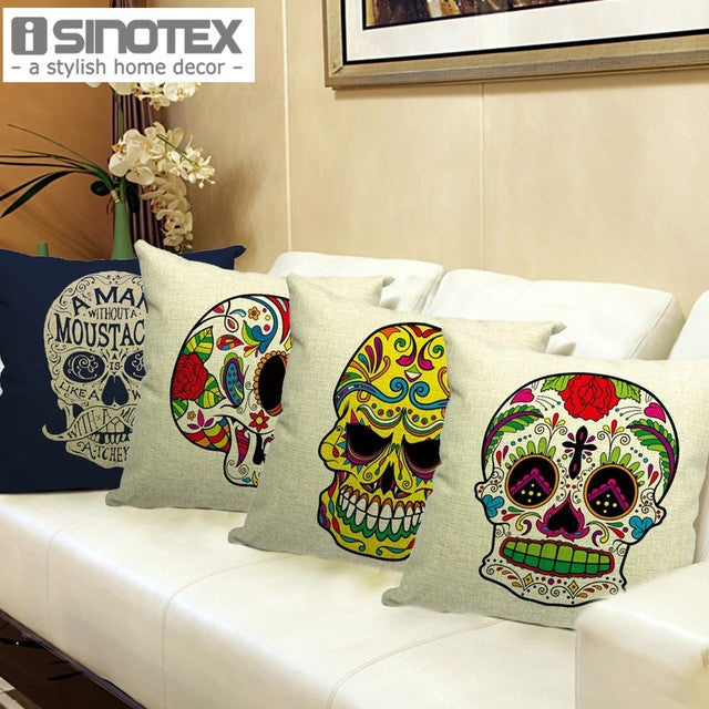 Skull Printed 45x45cm/17.7x17.7'' Linen Cushion For Sofa Decorative Throw Cotton Sofa Decor Couch