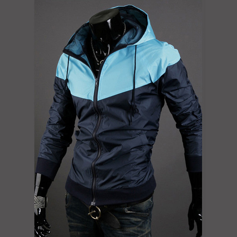 New style fashion mens hooded coats casual active Jacket Color matching men windbreak jackets