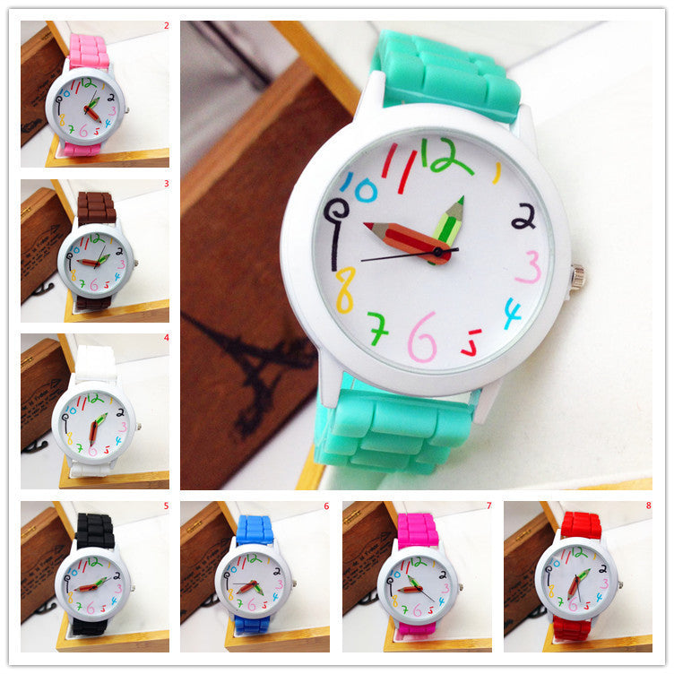 Special Offer Limited Fashion Cartoon Pencil Pointer Funny Digital Silicone Watches Best Gift Women & Men Watch