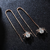 Spider Gold Plated Round Cut Clear Cubic Zirconia Long Dangle Earrings Jewelry for Women