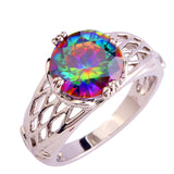 Splendide Round Cut Rainbow Mystic Sapphire Silver Women Ring Fashion Jewelry