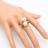 Spring New Arrival Hot High Quality Stainless Steel Vintage Fashion Double Pearl Ring Gold Plated For Women Party Jewelry