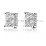 Square Earring Studs Real Gold /Silver Plate Micro Inlay AAA Cubic Zirconia Cute Earrings Fashion Jewelry