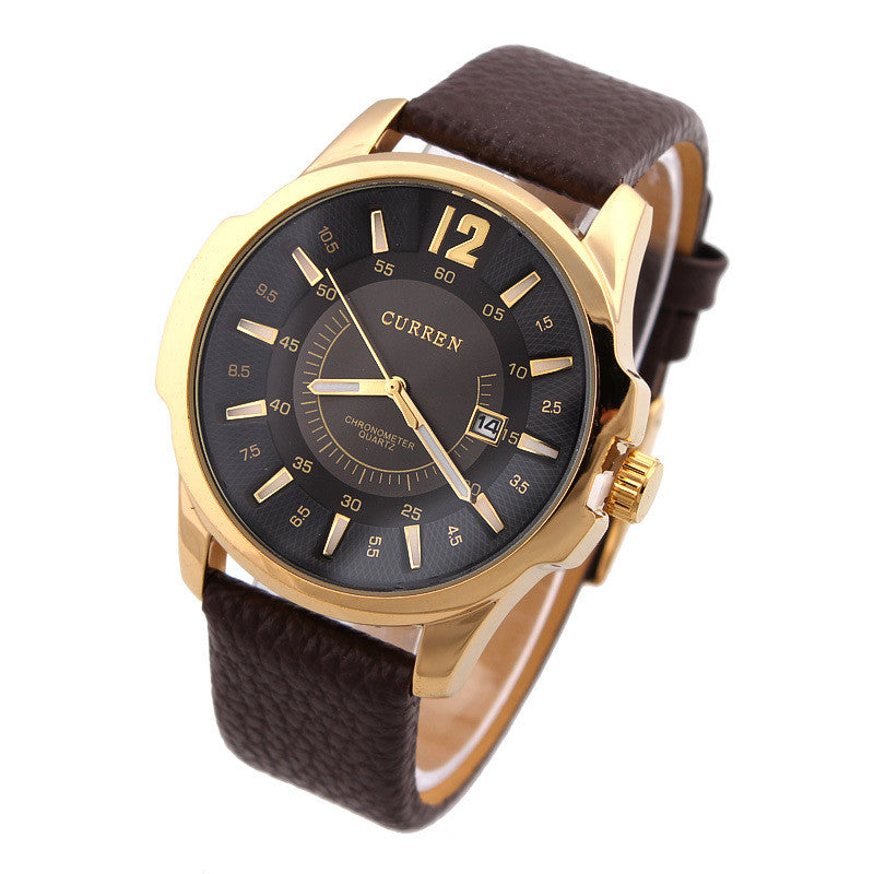 Stainless Steel Dial Sports Watch CURREN 8123 Analog with date Casual Watches Leather Strap quartz wristwatches