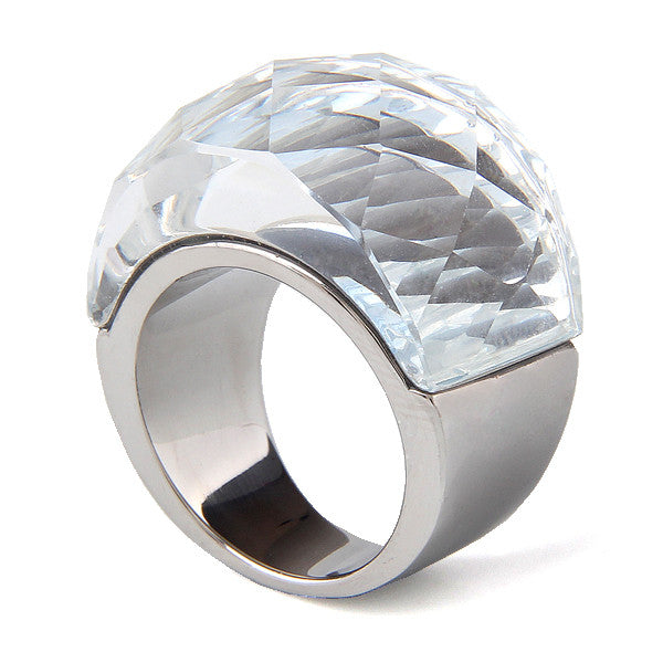 Stainless Steel Wedding Jewelry Supplies Big Zircon Rings for women