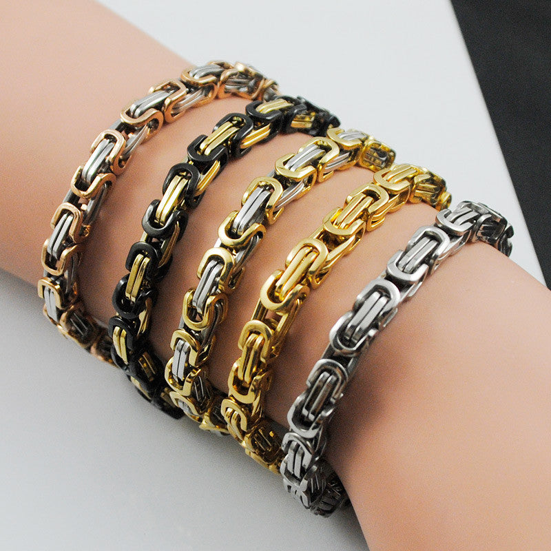 Stainless steel bracelet men punk rock jewelry high quality pulseira masculina byzantine chain link bracelets