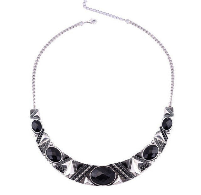 Statement Necklace New Vintage Jewelry Silver Color Alloy Black Resin Bead Choker Necklace Fashion Bijoux Necklace For Women